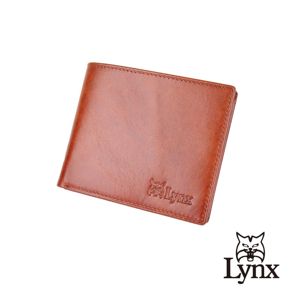 【Lynx】美國山貓J傑克系列牛皮10卡中翻橫式短夾/皮夾-雙色咖 雙鈔/透明窗/多卡位