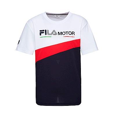 FILA 男款吸濕排汗圓領T恤-白色 1TET-1473-WT