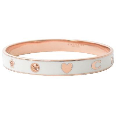 COACH 簡約C字LOGO水鑽款手環(白/玫瑰金)