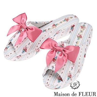 Maison de FLEUR 直條花卉圖案拖鞋
