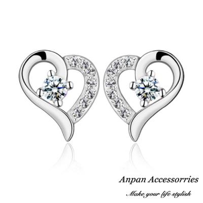 ANPAN愛扮S925純銀飾 韓東大門愛心鑽石甜甜圈耳釘式耳環