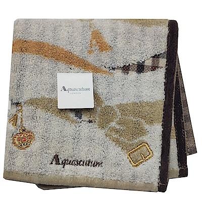 Aquascutum 經典品牌格紋蝴蝶結圖騰字母LOGO刺繡小方巾(卡其系底)