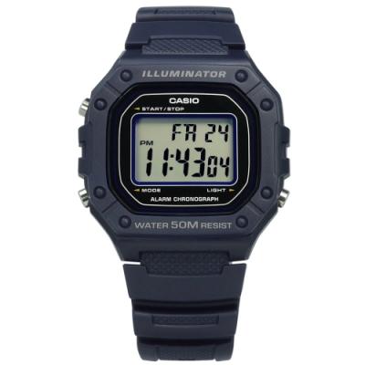 CASIO 卡西歐 復古計時橡膠手錶-藍紫色 W-218H-2A 42mm