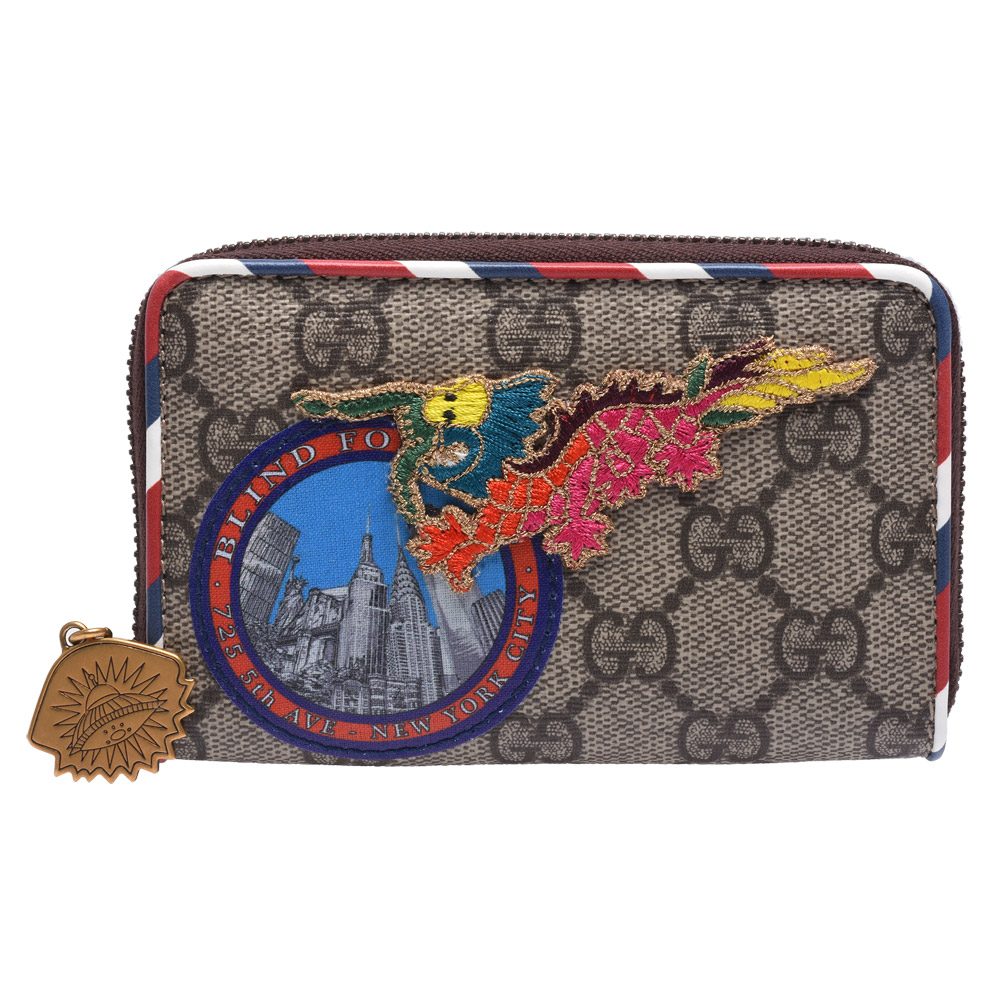 GUCCI Courier Dragon印花貼布牛皮飾邊拉鍊名片/零錢包(棕)