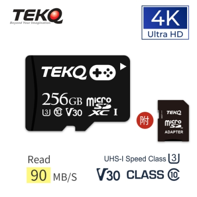 TEKQ microSD UHS-I U3 V30 A1 256G 電玩專用 記憶卡 附轉卡