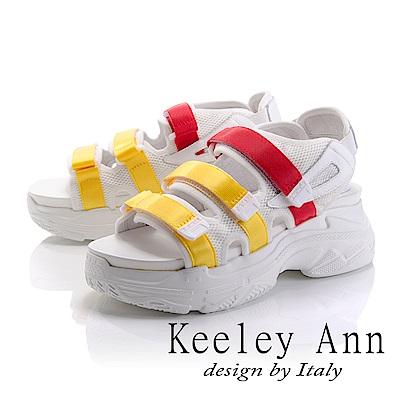 Keeley Ann 街頭漫步~網布雙色帶厚底休閒涼鞋(黃色-Ann系列)