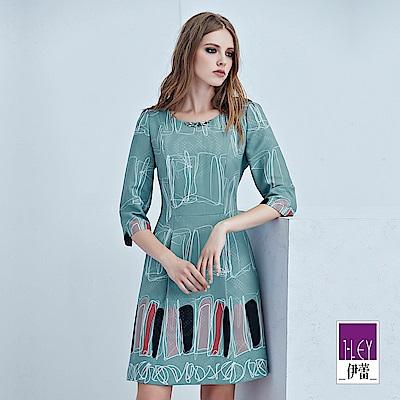 ILEY伊蕾 幾何線條印花緹織洋裝(藍)