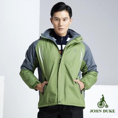 JOHN DUKE 約翰公爵 簡約休閒立領防風防潑水外套灰/綠(32-8K5272)