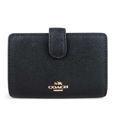 COACH 立體馬車Logo素面防刮全皮革雙折式窗型中夾(黑色)