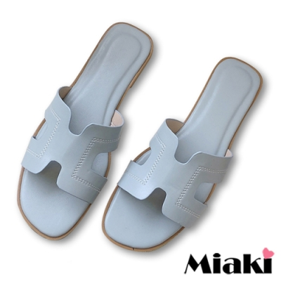 Miaki-拖鞋韓國時尚平底涼鞋-藍