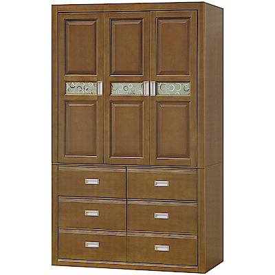 文創集 薛爾4尺三門六抽實木衣櫃/收納櫃(附穿衣鏡面)-121x55.5x203cm免組