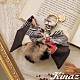KINAZ 豹紋兔毛球印花絲巾吊飾-奶油杏仁-糖果童話系列 product thumbnail 1