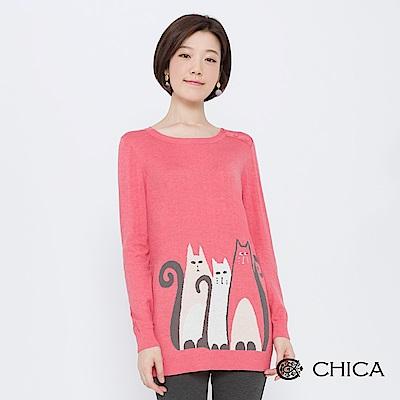 CHICA 貓咪三劍客排釦綴飾長版針織衫(2色)