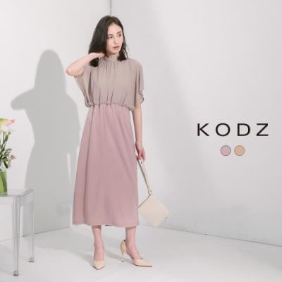 東京著衣-KODZ 古典優雅質感縮腰飛鼠袖雪紡洋裝-S.M.L(共二色)