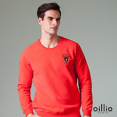 oillio歐洲貴族 長袖內刷毛T恤 超輕柔厚棉衣面 紅色