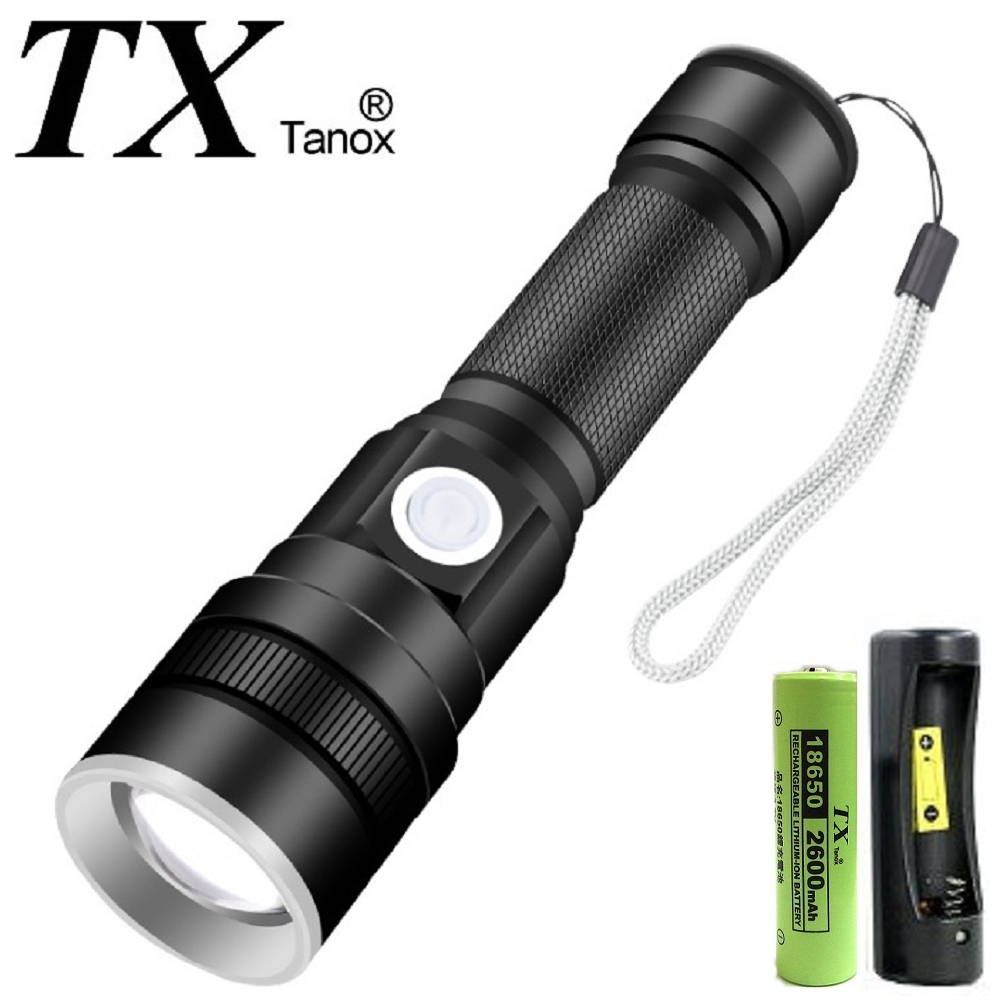 TX特林XHP-50 LED強亮USB充電手電筒(T-F25-P50)