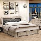 綠活居 法斯6尺亞麻布雙人床組(床頭箱+四抽床底+不含床墊)-182x217x98cm免組
