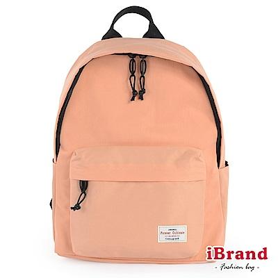 iBrand後背包 簡約素色帆布口袋後背包-粉膚色