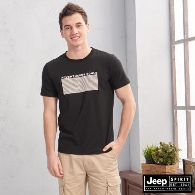 JEEP 圖地反轉LOGO造型短袖TEE-黑色