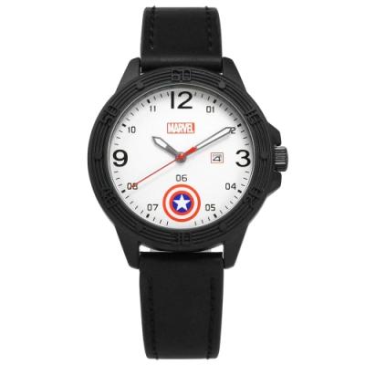 Disney 迪士尼 漫威系列 美國隊長 盾牌 兒童 卡通錶 皮革手錶-銀白x黑/36mm