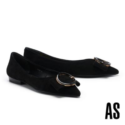 低跟鞋 AS 金屬大圓釦蝴蝶結全羊皮尖頭低跟鞋-黑