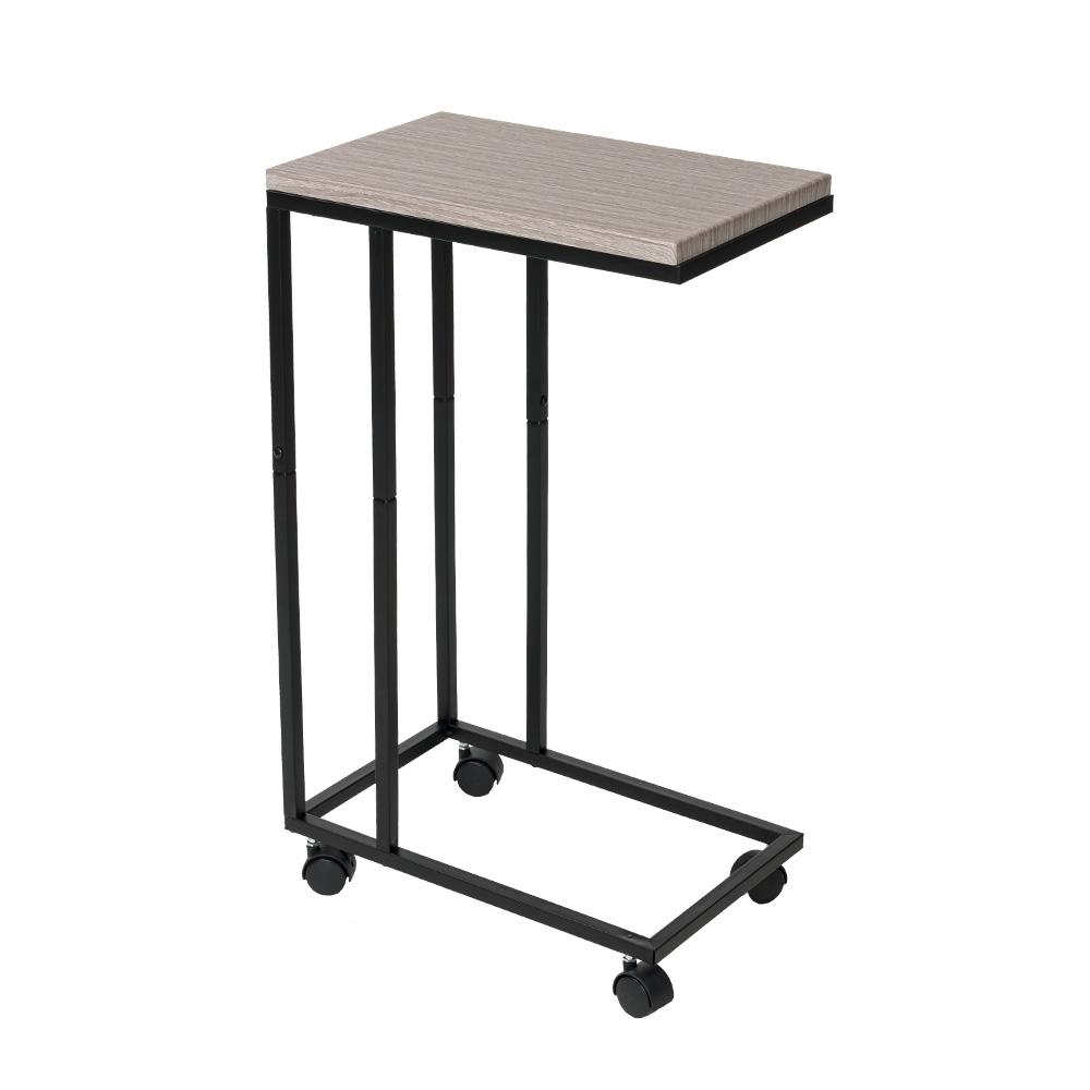 樂嫚妮 簡約電腦床邊桌/NB便利桌/茶几桌-附輪&底腳-橡木色