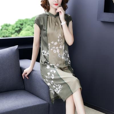 高雅圓領氣質花卉垂順飄柔拚色洋裝L-4XL-REKO