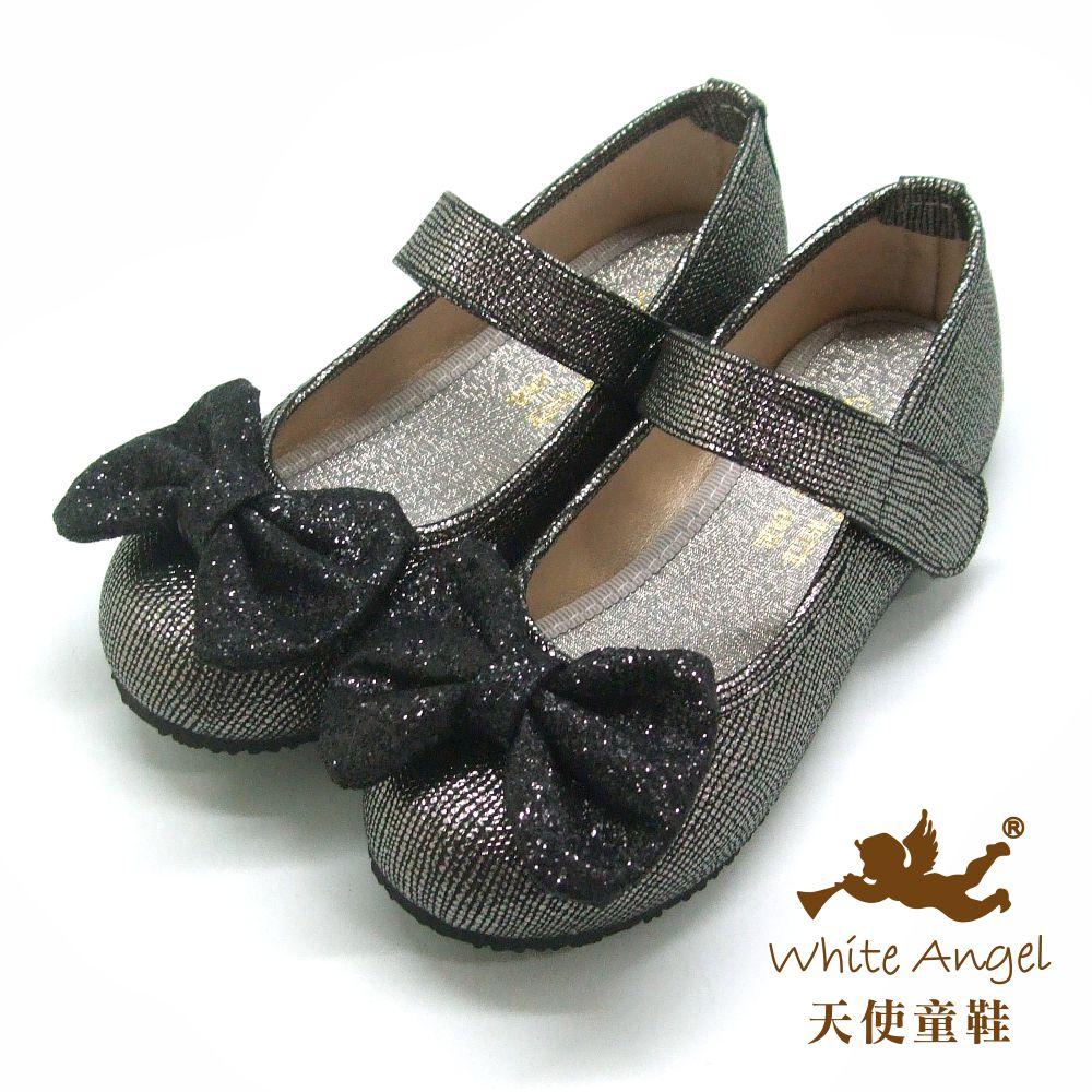 天使童鞋 妮可蝴蝶結公主鞋(中-大童)J917-黑