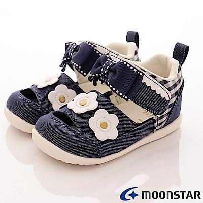日本Carrot機能童鞋 花漾透氣高支撐涼鞋 NI15深藍(寶寶段)