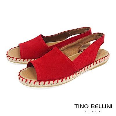 Tino Bellini 西班牙進口全真皮魚口悠活麻編平底涼鞋 _ 紅