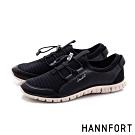 HANNFORT ZERO GRAVITY 束繩彈力條紋運動鞋-女-黑