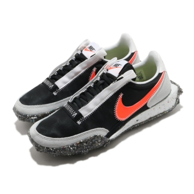 Nike 休閒鞋 Waffle Racer Crater 女鞋 基本款 復古鞋型 簡約 穿搭 輕便 黑 橘 CT1983101