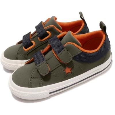 CONVERSE ONE STAR  嬰幼休閒鞋-綠橘