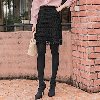 鬆緊腰頭純色蕾絲A字短裙-OB大尺碼