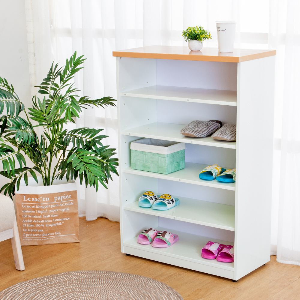 Birdie南亞塑鋼-2.2尺開放式五格收納櫃/鞋櫃-木紋+白色-66x33x100cm