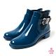 Petite Jolie-個性扣環切爾西短靴-蔚藍 product thumbnail 1