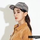 H:CONNECT 韓國品牌 配件 - 電繡字樣格紋棒球帽-黑