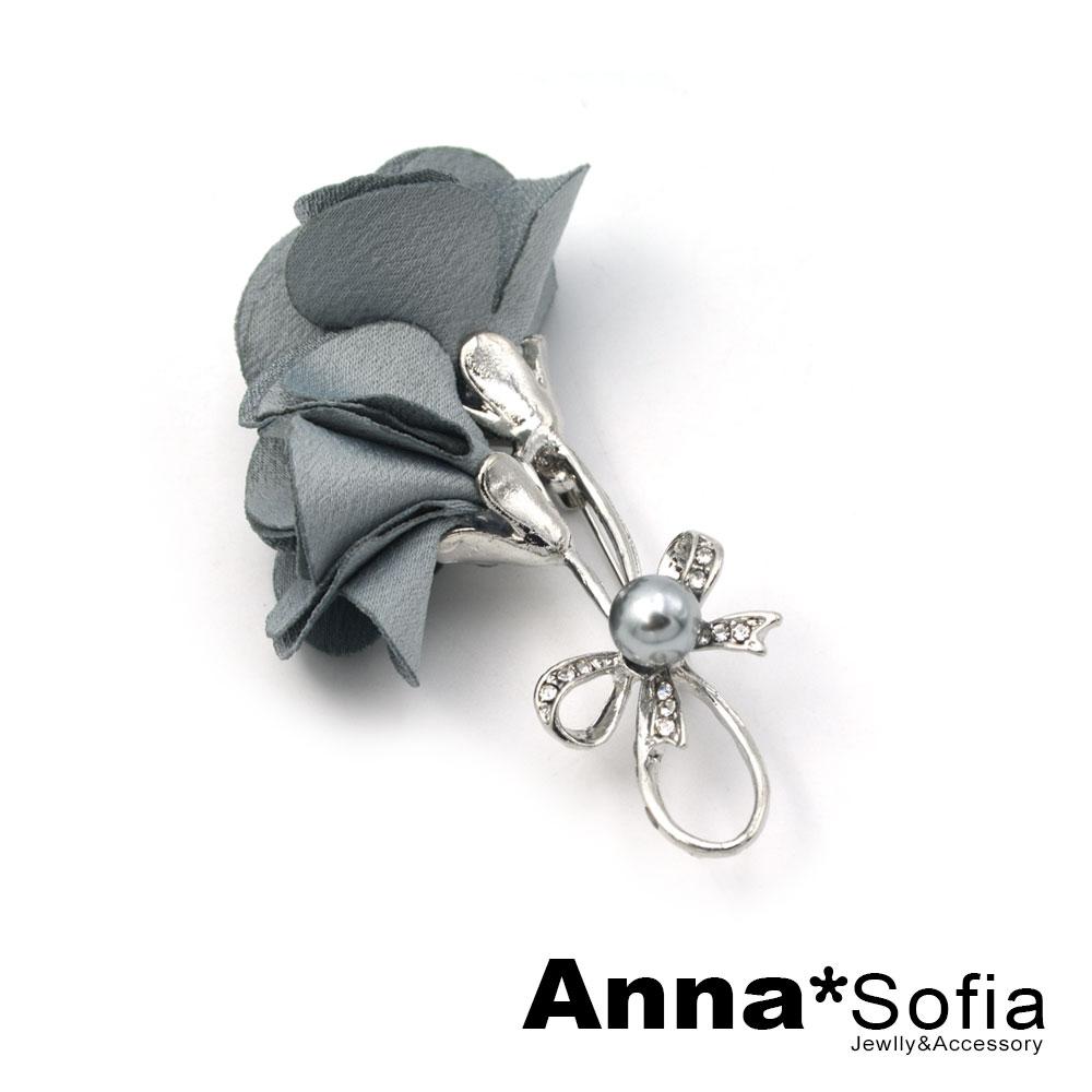 【3件5折】AnnaSofia 舞結雙瓣花 別針胸針(灰藍銀系) @ Y!購物