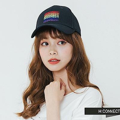 H:CONNECT 韓國品牌- 彩色繡字棒球帽-藍