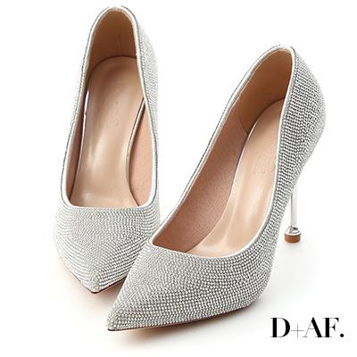 D+AF 璀鑽名媛.燙鑽金屬跟尖頭高跟鞋*銀