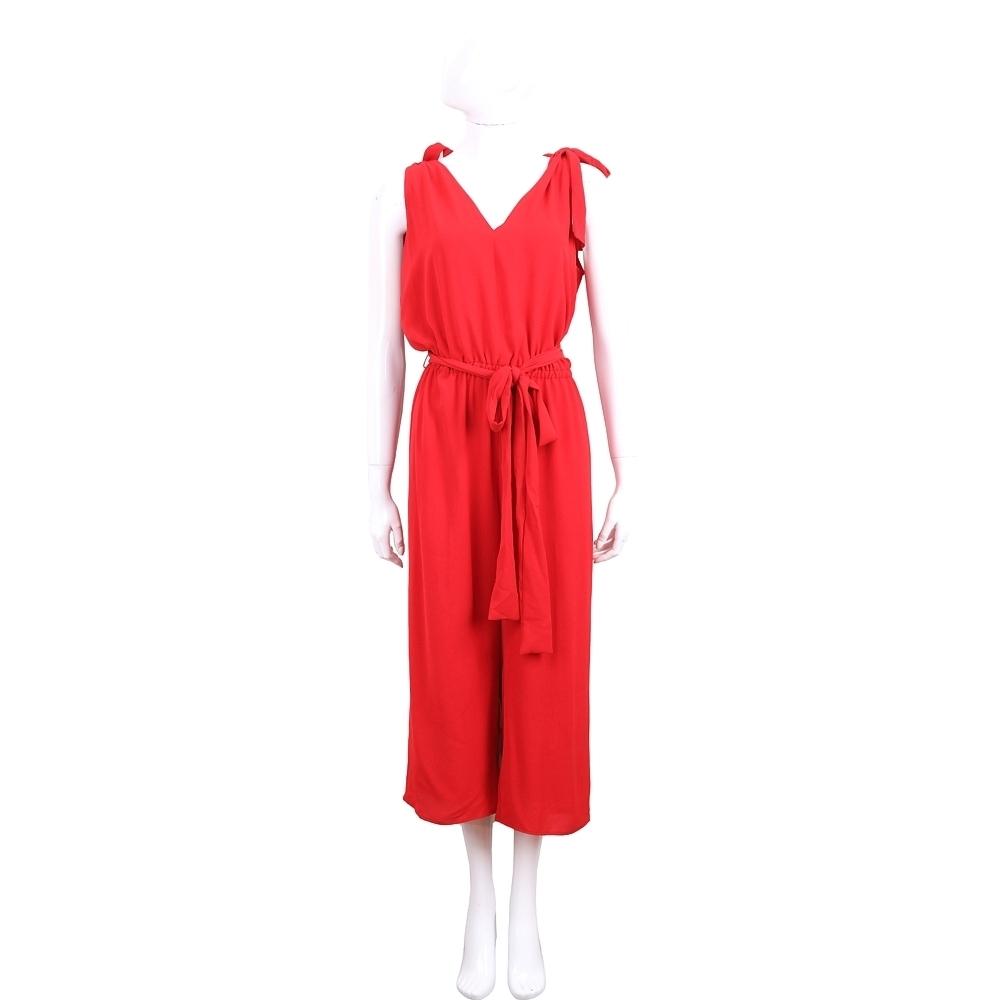 Michael Kors Crepe V領綁肩細節紅色縐紗連身褲