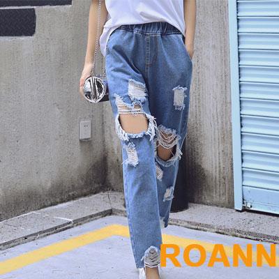 街頭風刷破抽鬚九分牛仔褲 (藍色)-ROANN