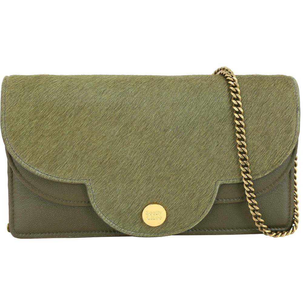 SEE BY CHLOE Polina 花瓣造型馬毛拼接手拿/鍊帶包(橄欖綠) @ Y!購物