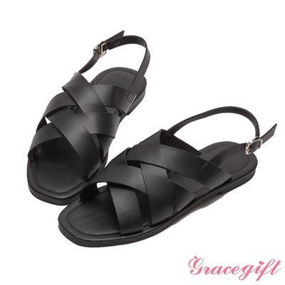 Grace gift-寬帶編織平底涼鞋 黑