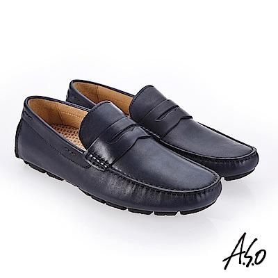 A.S.O 超能耐二代 經典臘感鞋面休閒鞋 深藍
