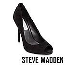 STEVE MADDEN-DIANE 素面尖頭露趾高跟鞋-黑色