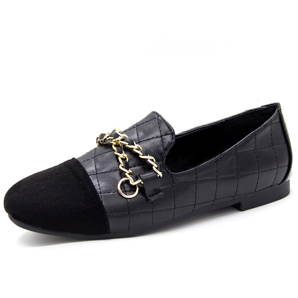 韓國KW美鞋館-(現貨)輕柔典雅金鍊樂福鞋(共1色) (黑色)