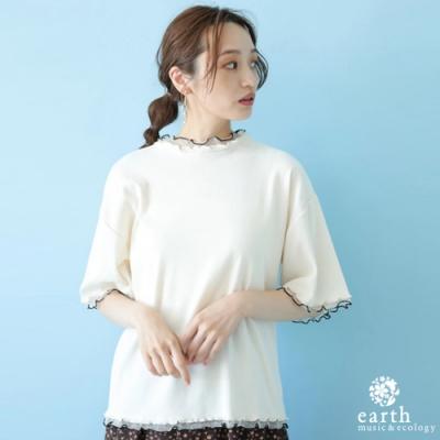 earth music 拼接薄紗造型上衣