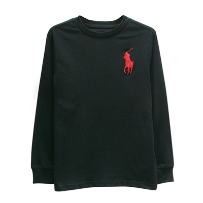 Ralph Lauren 小童經典大馬長袖t恤-黑色(7歲)