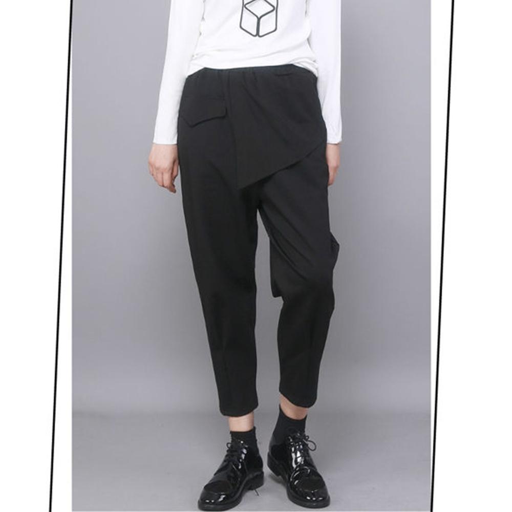 設計所在Style-秋冬新款時尚休閒褲不規則拼接顯瘦潮九分小腳哈倫褲